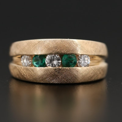 14K Yellow Gold Diamond and Emerald Band