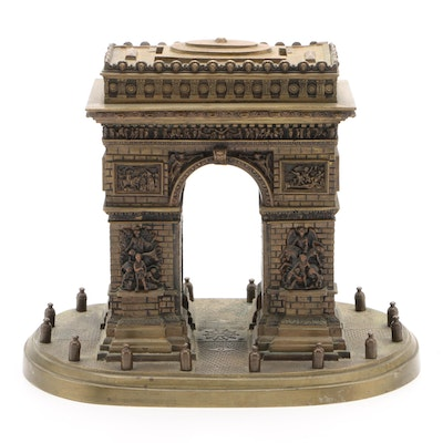 Gilt Metal Arc de Triomphe Architectural Model Grand Tour Souvenir