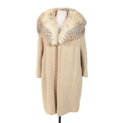 Bouclé Open-Front Coat with Fox Fur Shawl Collar, Vintage