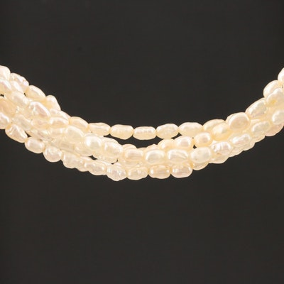 Cultured Pearl Multi-Strand Necklace with 14K Yellow Gold Clasp