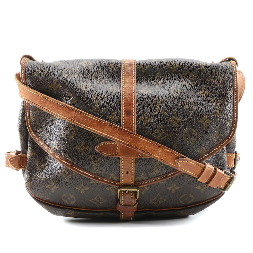 Louis Vuitton Saumur Crossbody Bag in Monogram Canvas and Leather