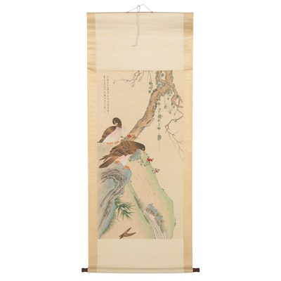 Chinese Birds on Tree Gouache and Watercolor Hanging Scroll