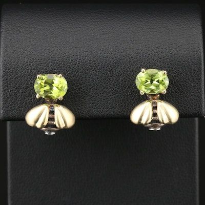 Saint by Sarah Jane Sterling Silver and 18K Yellow Gold Peridot Bee Earrings
