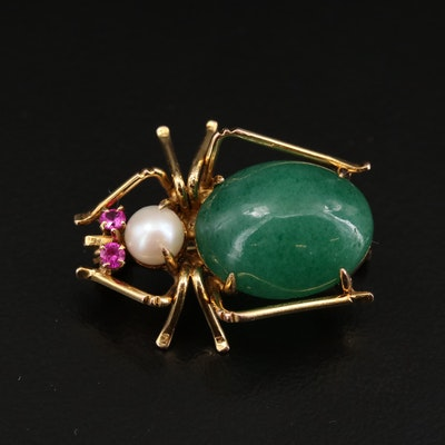 10K Yellow Gold Aventurine, Pearl and Ruby Insect Brooch