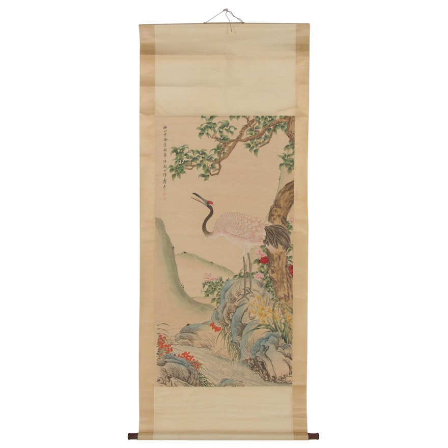 Chinese Crane Gouache and Watercolor Hanging Scroll