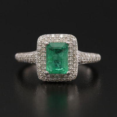 10K White Gold Emerald and Diamond Double Halo Ring