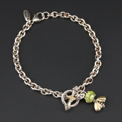 Saint by Sarah Jane Sterling Silver and 18K Gold Peridot Bee Bracelet