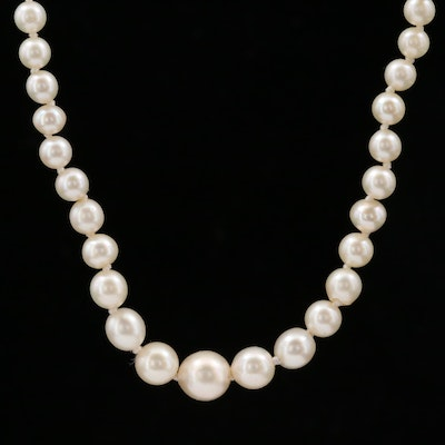 Graduated Cultured Pearl Necklace With Sterling Silver Mikimoto Clasp