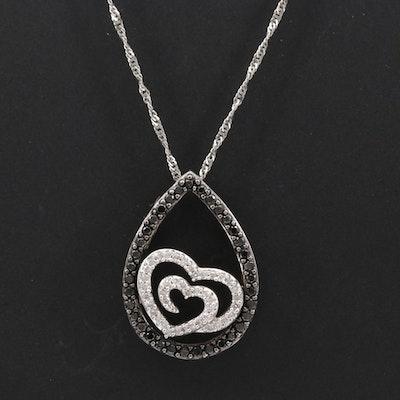14K White Gold Diamond Double Heart Pendant Necklace