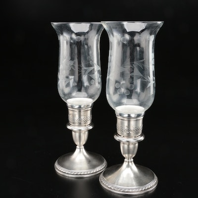 Cartier Brushed Sterling Silver Candlesticks with Etched Glass Hurricanes