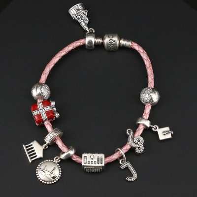 Pandora Sterling Silver Charm Bracelet with Castle, Cable Car and Heart Charms