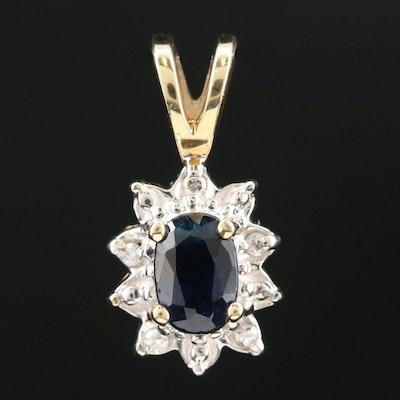 10K Yellow Gold Sapphire and Diamond Pendant