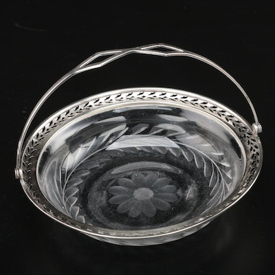 Webster Co. Pierced Sterling Silver and Etched Glass Bonbon Basket