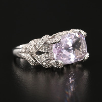 14K White Gold Kunzite and Topaz Ring