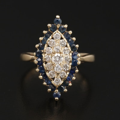 14K Yellow Gold Diamond and Sapphire Navette Ring