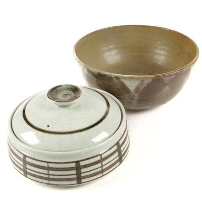 Art Pottery Bowl and Stoneware Lidded Casserole
