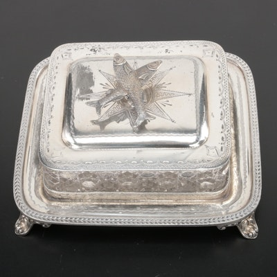R. Spiller Victorian English Silver Plate Cane Cut Glass Sardine Box, Late 19th