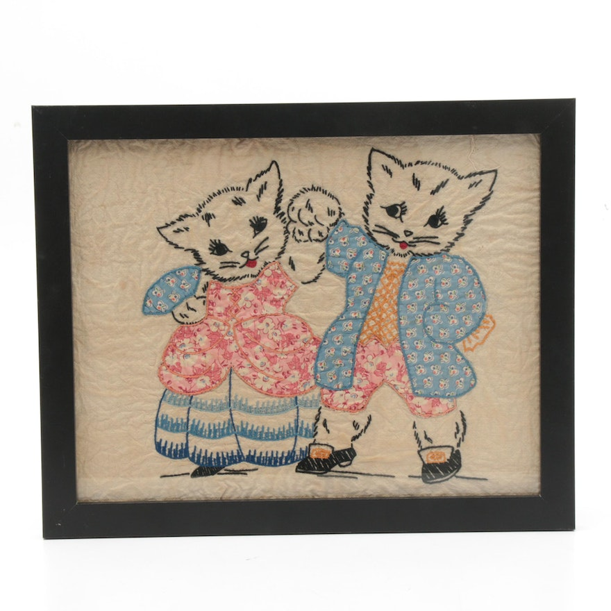 Handmade Appliqué and Embroidered Textile of Dancing Cats