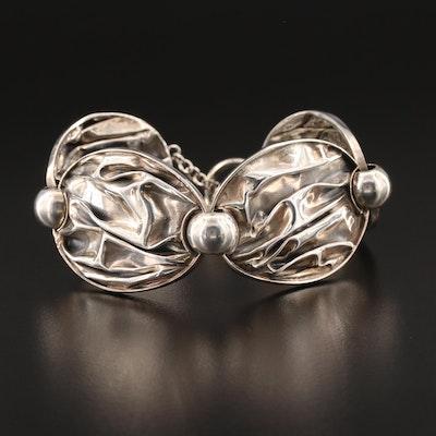 Sterling Silver Ruffle Panel Bracelet