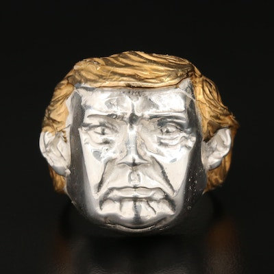 Sterling Silver Face Figure Ring