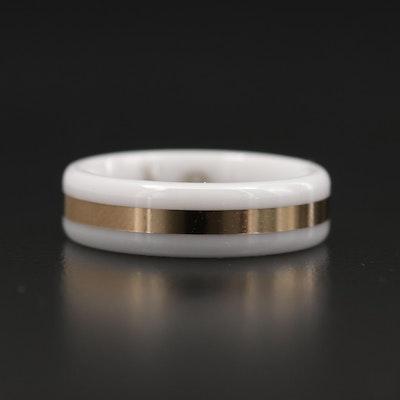 White Ceramic Ring With 14K Yellow Gold Inlay