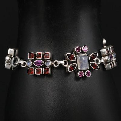 Nicky Butler Sterling Silver Moonstone and Garnet Bracelet