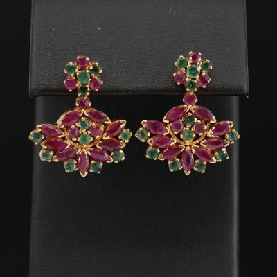18K Yellow Gold Emerald and Ruby Drop Earrings