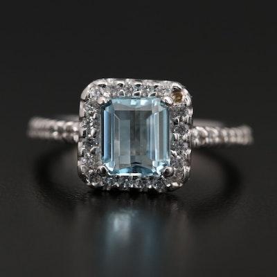 14K White Gold Aquamarine and Cubic Zirconia Ring