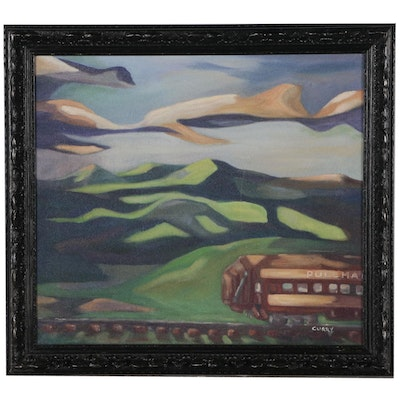 Oil Painting of Abstracted Landscape with Pullman Train, Late 20th Century