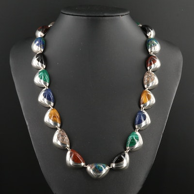 Taxco Mexico Sterling Silver Mahogany Obsidian and Gemstone Necklace