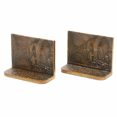 Bronze Bookends Depicting Figure on Balcony