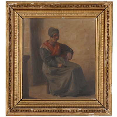 Continental School Figure Oil Painting, Late 19th Century