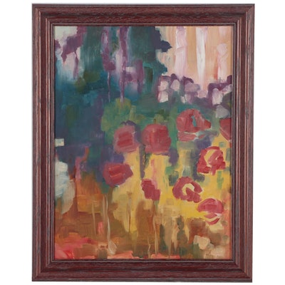 Abstract Floral Landscape Oil Painting, Late 20th Century