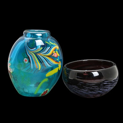 Handmade Blown Glass Venetian-Style Vase with Bowl