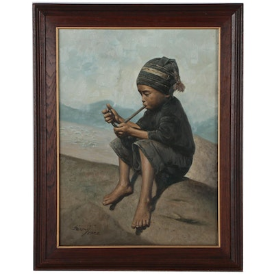 Oil Painting of Young Boy Smoking Pipe, 1988