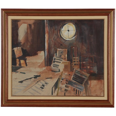 Kathy Walsh Oil Painting of Attic Interior, Late 20th Century