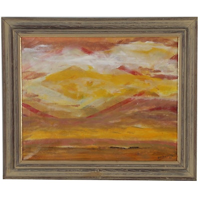 Bud Burwinkle Abstract Landscape Oil Painting, 1975