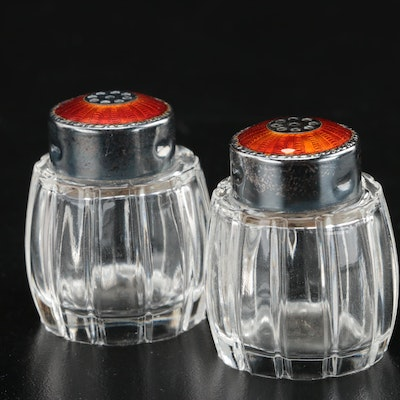 Meka Danish Salt and Pepper Shakers with Sterling Guilloche Tops
