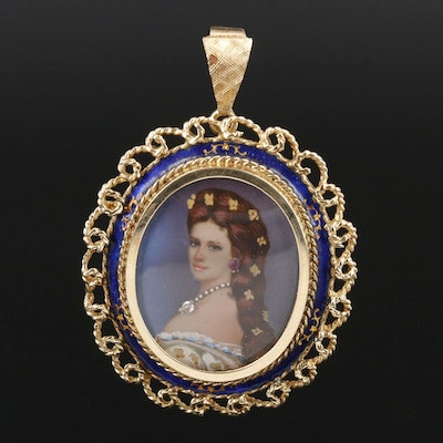 Vintage 14K Hand Painted Portait Converter Brooch Including Diamond and Ruby