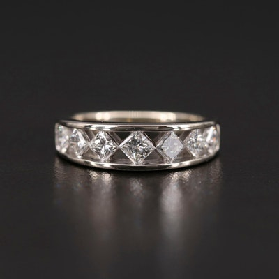 14K White Gold 1.13 CTW Diamond Kite Set Band