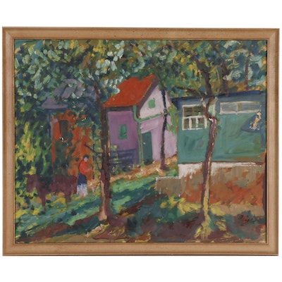 Anton Gold Expressionist Oil Painting of a Village Scene, Mid 20th Century
