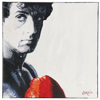Chris Cargill Portrait Acrylic Painting of Sylvester Stallone as Rocky Balboa