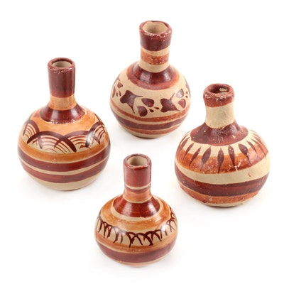 Southwestern Style Earthenware Brown and Beige Handpainted Vases