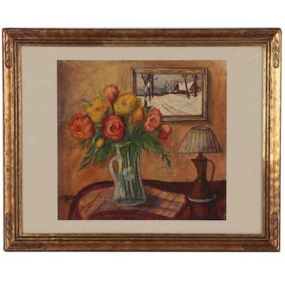 Interior Still Life Gouache Painting, 1942