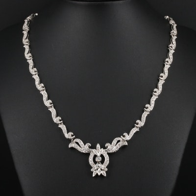 14K White Gold 3.03 CTW Diamond Necklace
