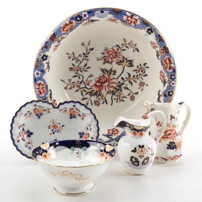 English and Austrian Imari Style Ceramic Vanity Pieces Including Spode