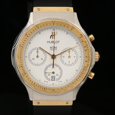 Hublot MDM 18K Yellow Gold and Stainless Steel Classic Chronograph Wristwatch