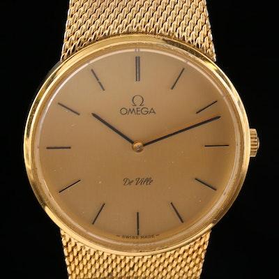 Omega DeVille Gold Tone Stem Wind Wristwatch, Vintage