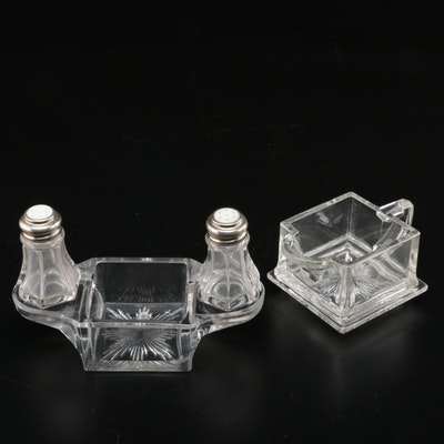 Molded Glass Condiment Caddy and Creamer