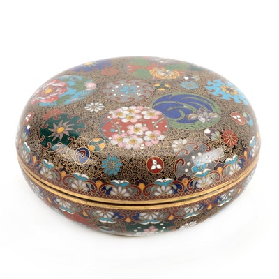 Japanese Cloisonné Enameled Covered Box with Floral Medallions